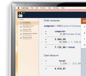 CalcTape desktop calculator