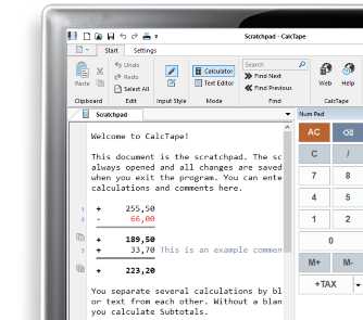 CalcTape desktop calculator free download